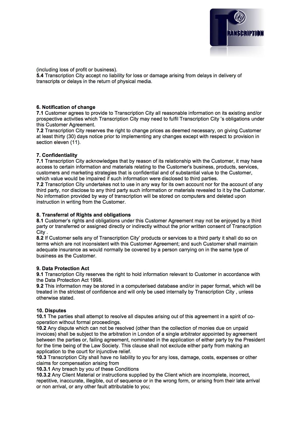 Terms and Conditions page 3
